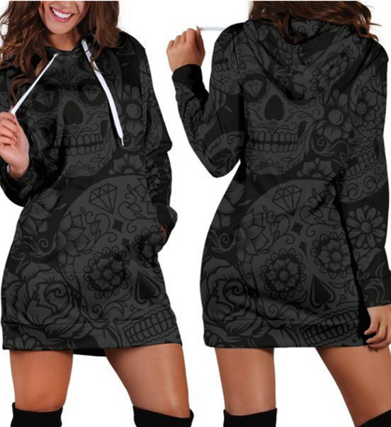 Dark Sugar Skull Women's Hoodie Dress - designfullprint