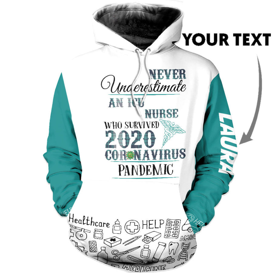 Personalized Never Underestimate An ICU Nurse US Unisex Size Hoodie