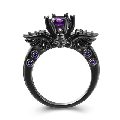 Black Angel Purple CZ Crystal Ring For Women