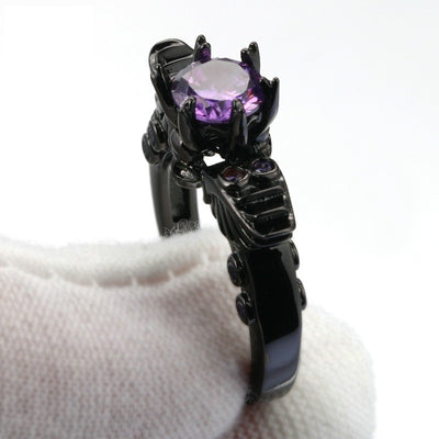 Black Angel Purple CZ Crystal Ring For Women - designfullprint