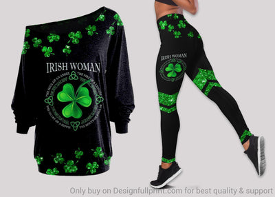 Irish Women Off Shoulder Long Sleeves Top and Leggings Set