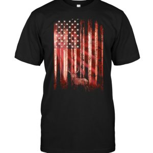 Sunrise Deer American Flag T-shirt - designfullprint