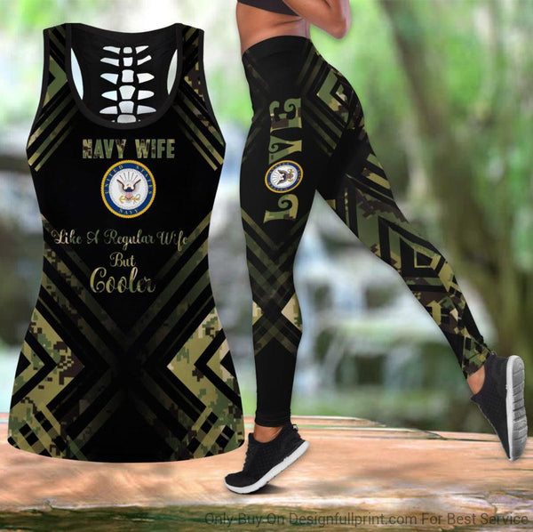 Navy Wife Tank Top And Legging Set