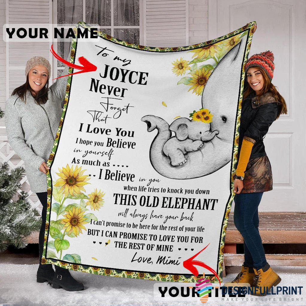 Personalized Elephant Family Sherpa Premium Blanket