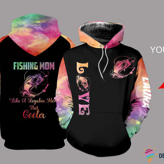 Fishing Mom Colorful Personalized US Unisex Size Hoodie