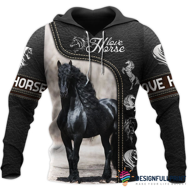Love Horse 3D All Over Printed Shirts Black