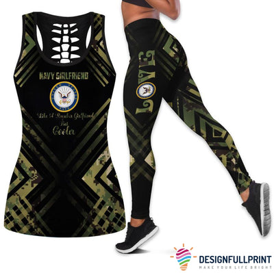 Navy Girlfriend Tank Top And Legging Set