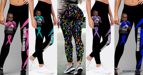 Multi-Color Fight Like A Warrior Melanin Cancer Awareness Premium Leggings