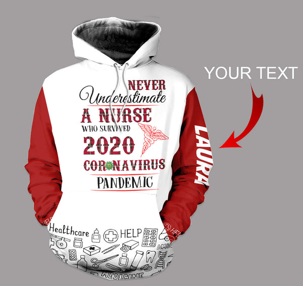 Personalized Never Underestimate Nurse US Unisex Size Hoodie
