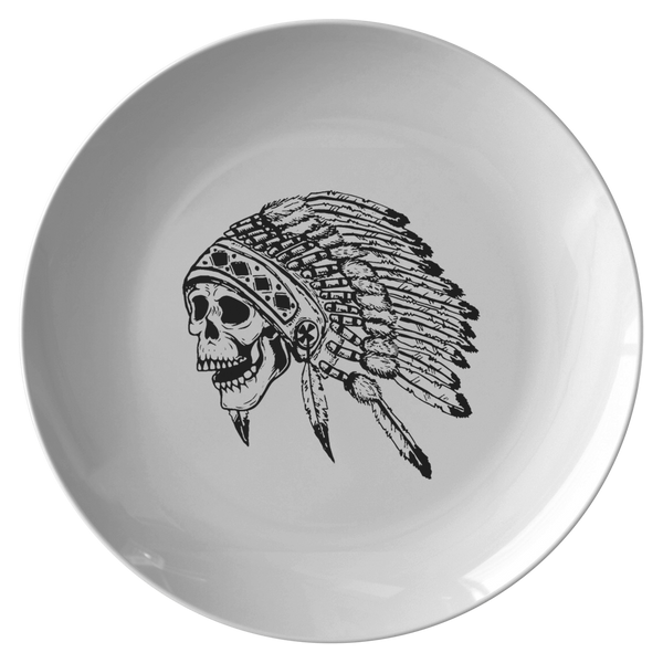 Native American Skull Headdress Microwave Safe, BPA- Free Plate 008