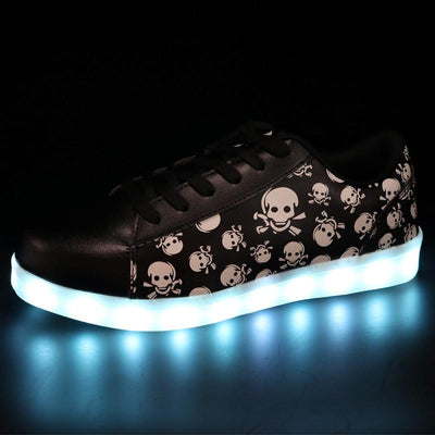 Skull Men's Shoes with LED