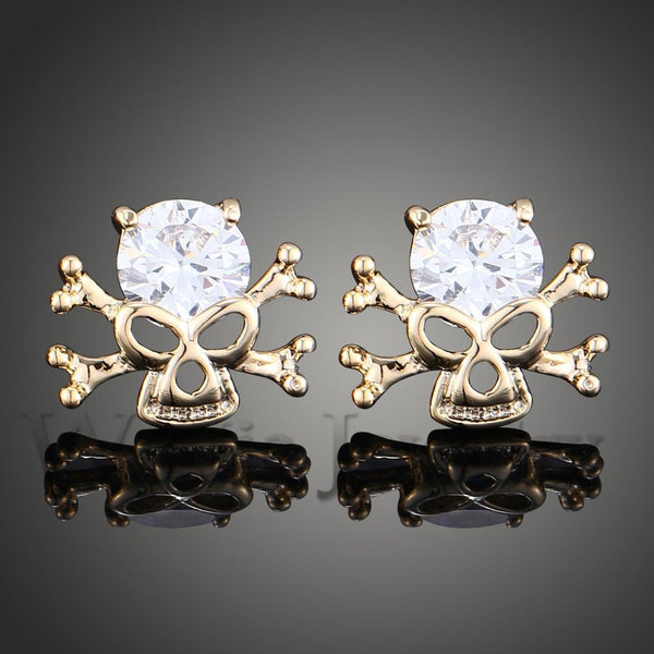 Cubic Zirconia Pirate Skull Earrings