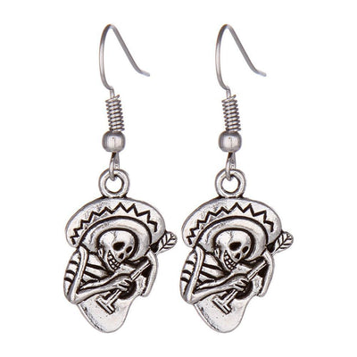 Silver Plated Guitar Skull Earrings