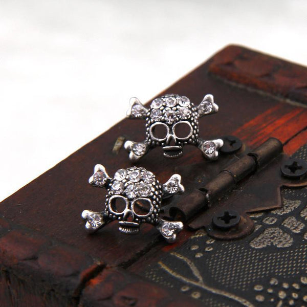 Vintage Rhinestone Skull Stud Earrings