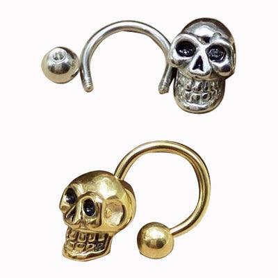 2 Pieces Stainless Steel Skull Earring