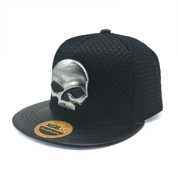 Skull Hip Hop Snapback Caps Outdoor Sun Hats Mesh Men Baseball Cap Casual Flat-brimmed