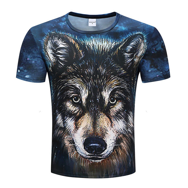Wolf Printed Unisex T-shirts,  Short SLeeve 3D Top Funny  Novelty Streetwear