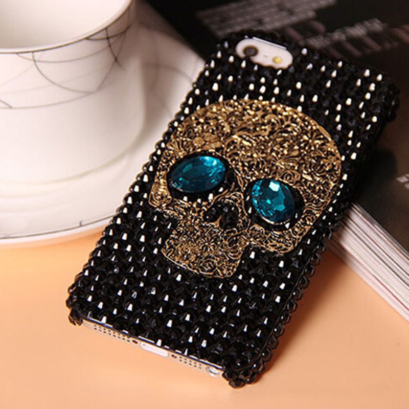 Bling Rhinestone Skull With Blue Eye Phone Cases For iPhone from 5 to  8+ and Samsung S8 S7 S6 Edge - designfullprint