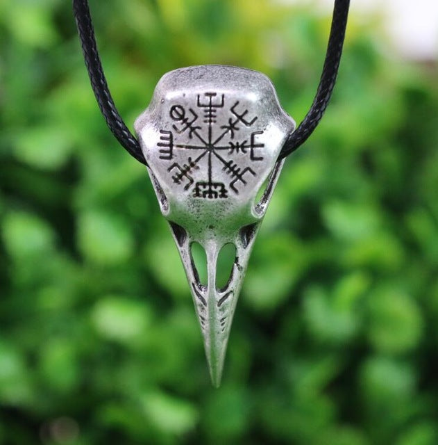 Nordic Vikings Vegvisir and Silver Raven Skull Necklace With Sigil Talisman - designfullprint