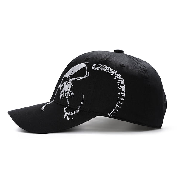 Unisex 100% Cotton Skull Embroidery Baseball Cap - designfullprint