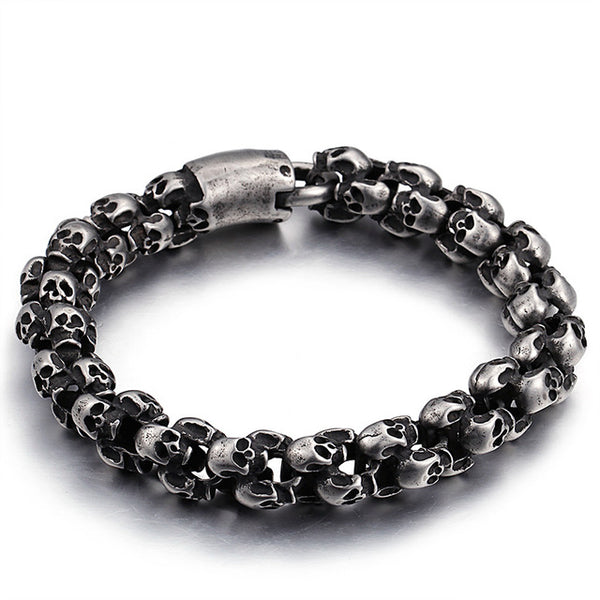 Stainless Steel  Skull Bracelets For Men - designfullprint