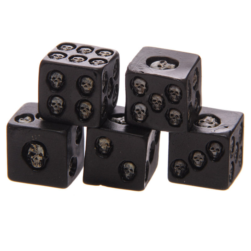 Set of 5 Nemesis Black Skull Dice
