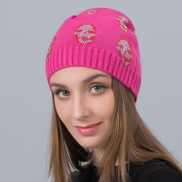 Skull Rhinestone Diamond Cashmere Hat Casual High Quality