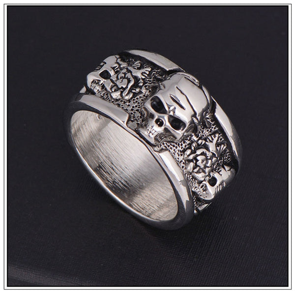 Punk Rock, Biker Rings Skull Ring 004 - designfullprint