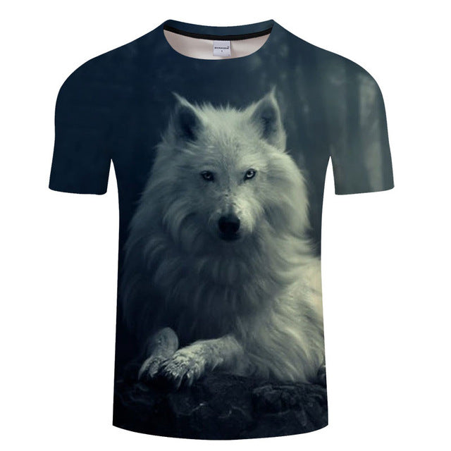 White Wolf 3D Print Unisex T-shirt, Summer Casual Short Sleeve O-neck Tops&Tees