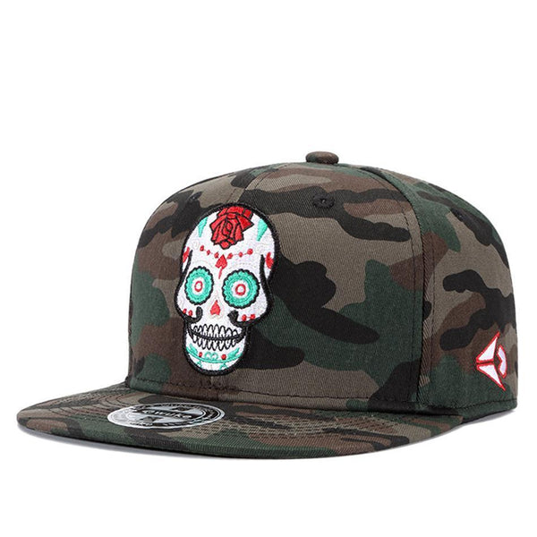High Quality Camouflage Skull Embroidery Baseball Cap 100%Cotton Snapback Cap Hip-Hop Flat Adjustable Hats