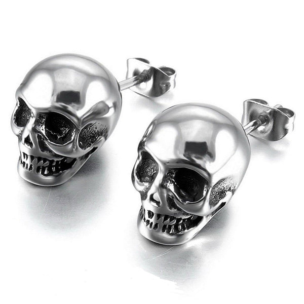Cool Unisex Skull Silver Like Stud Earrings