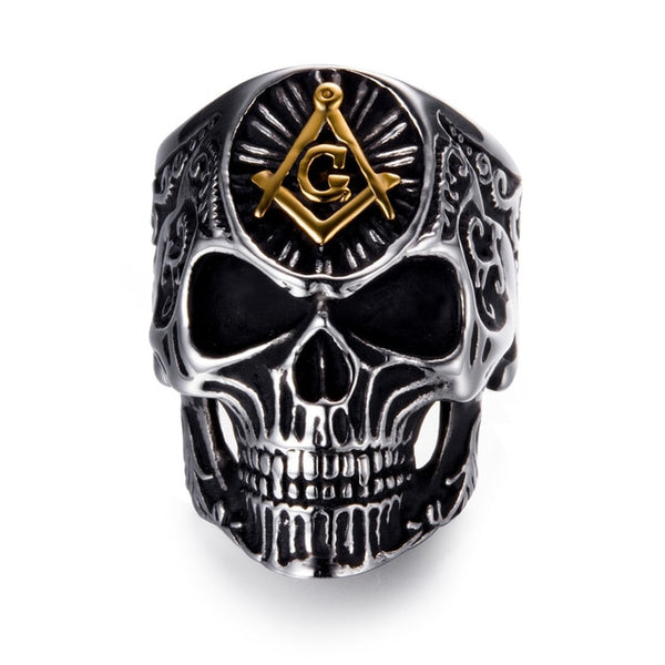Stainless Steel Masonic Skull Rings - designfullprint