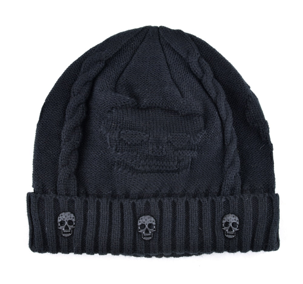 Super Warm Skull Knitted Wool Beanie with Skull Charm and Soft Fur Inside