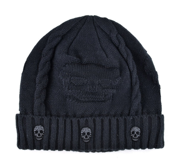 Super Warm Skull Knitted Wool Beanie with Skull Charm and Soft Fur Inside -  designfullprint fbfe58d4e9c5