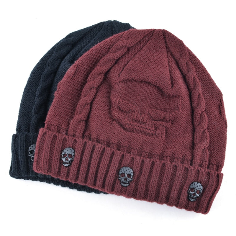 Super Warm Skull Knitted Wool Beanie with Skull Charm and Soft Fur Inside - designfullprint