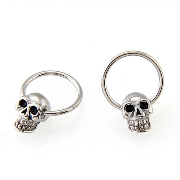 Unisex Stainless Steel Skull Round Hoop  Earrings - designfullprint