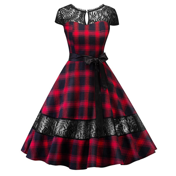 Gothic Vintage Tartan Lace Dress