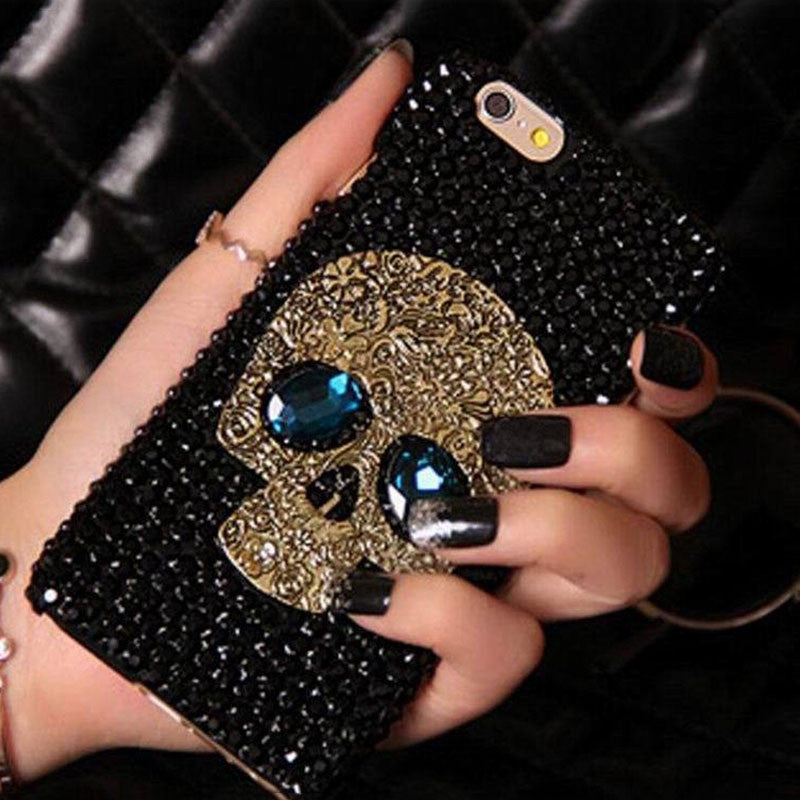 Bling Rhinestone Skull With Blue Eye Phone Cases For iPhone from 5 to  8+ and Samsung S8 S7 S6 Edge