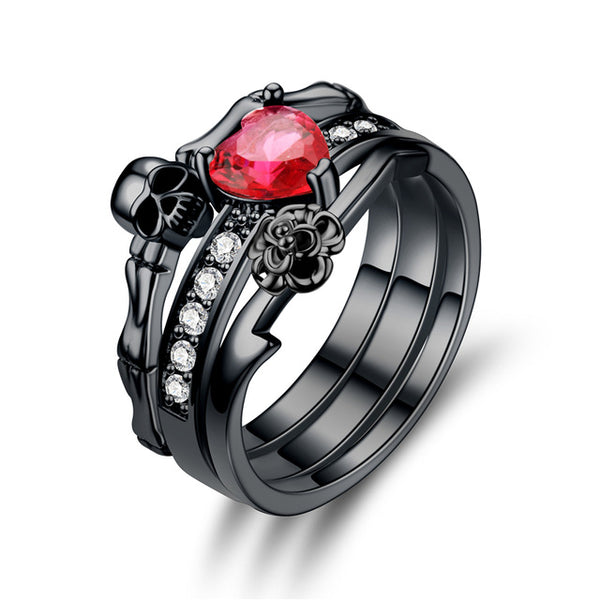 Black Skull Ring Red  Crystal  Heart - designfullprint