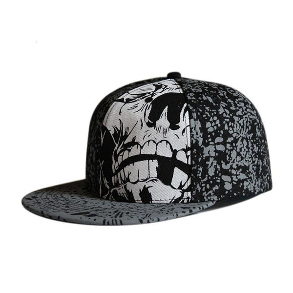 Skull cap women men's leisure flat brim fitted snapback hat