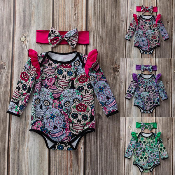 Sugar Skull Baby Girl Long Sleeve Body Suit with Headband Set - designfullprint