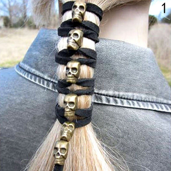 Skull Leather Ponytail Hair Ties - designfullprint