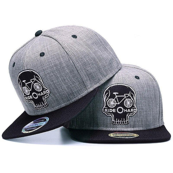 Snapback cap embroidery SKULL 6 panel bone linen Skeleton sports hat