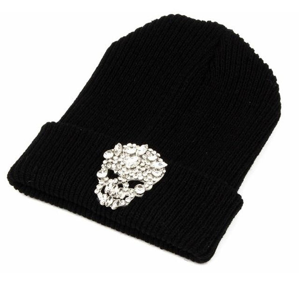 Beanies Winter warm Crystal Skull Head Knit Hat Gorros