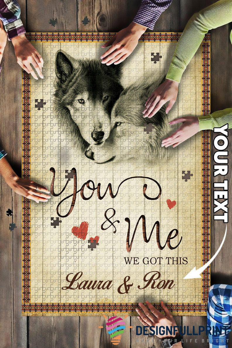 Personalized Wolf Lovers Couple Big Gift Puzzle