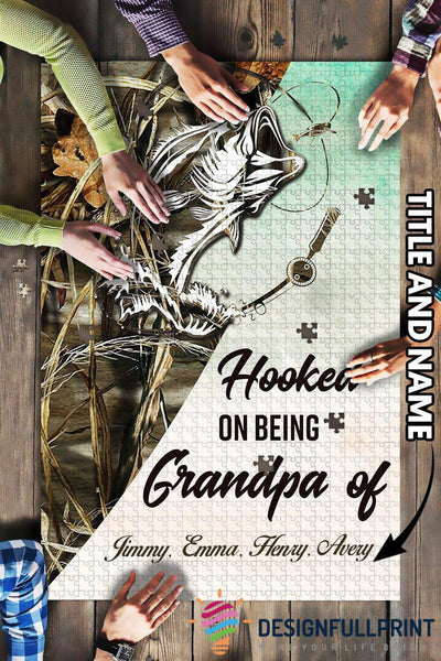Fishing Dad Grandpa Grandchilds Personalized Gift Big Puzzle