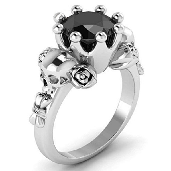 Black Crown Skull Ring - designfullprint