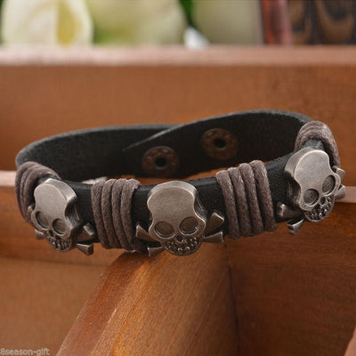 Leather Skull Cuff Adjustable Bracelet