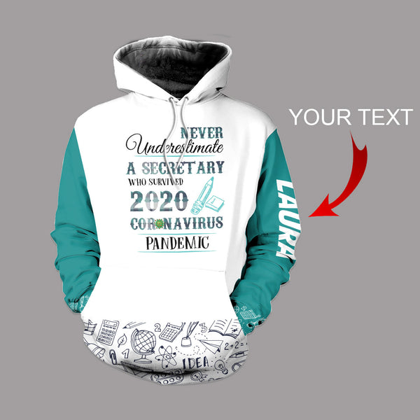 Personalized  Never Under Estimate A Secretary US Unisex Size Hoodie