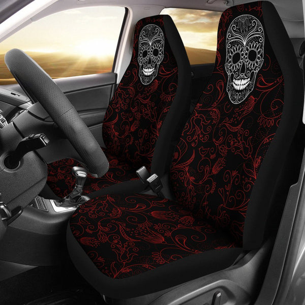 Red n Black Skull Car Seat Covers